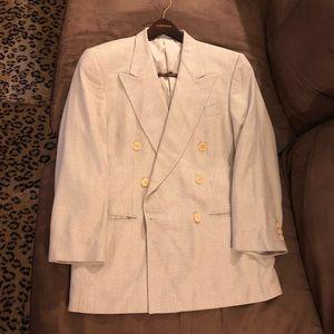Ermenegildo Zegna White Check Silk Blazer 38R